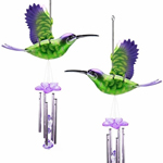 Green/Purple Hummingbird Wind Chimes (Set of 2)