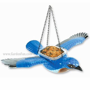 Hanging Blue Bird Feeder/Planter - Click to enlarge