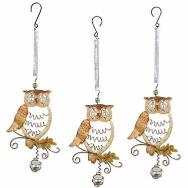 Hanging Metal Owl Bouncies (Set of 3) - Click to enlarge