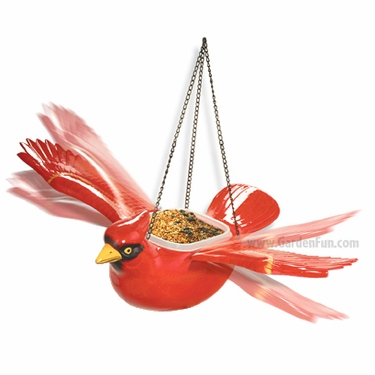 Hanging Red Cardinal Bird Feeder/Planter - Click to enlarge
