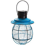 Hanging Solar Lantern with 6 LED String Light - Blue