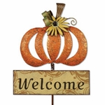 Harvest Pumpkin Garden Stake / Welcome Sign