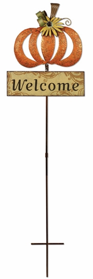 Harvest Pumpkin Garden Stake / Welcome Sign - Click to enlarge