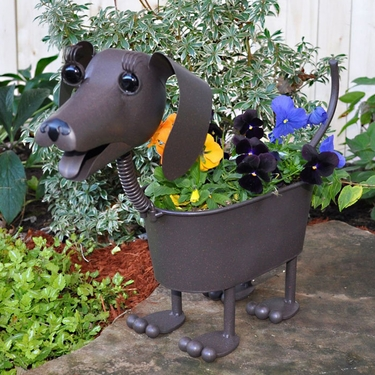 Heidi the Dachshund Dog Planter - Click to enlarge