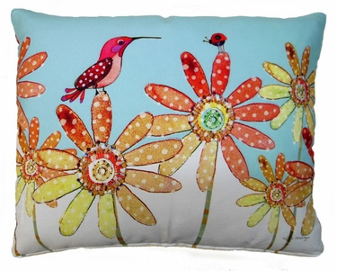 Hummingbird and Ladybug Outdoor Pillow - Click to enlarge