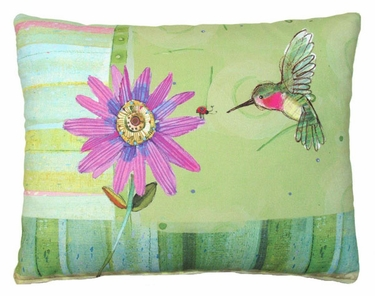 Hummingbird w/Purple Flower Outdoor Pillow - Click to enlarge