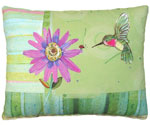 Hummingbird w/Purple Flower Outdoor Pillow