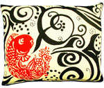 Koi  Fish Black/Red Outdoor Pillow