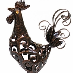 Large Bronze Rooster Filigree Statue