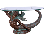 Large Mermaid Table w/Glass - Verde Bronze