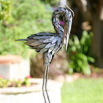 "Metal Crane Bird - 30"" Preening"
