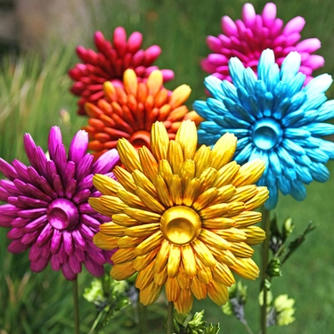 Large Metal Flower Garden Stakes (Set of 3) - Click to enlarge