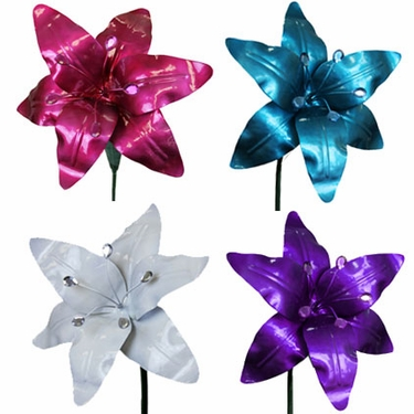 Large Metal Lilies (Set of 4) - Click to enlarge