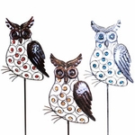Large Metal Owl Stakes w/Beads (Set of 3)