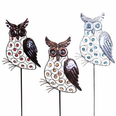 Large Metal Owl Stakes w/Beads (Set of 3) - Click to enlarge