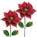 Large Poinsettia Garden Stakes (Set of 2)