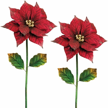 Large Poinsettia Garden Stakes (Set of 2) - Click to enlarge