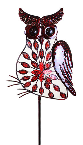 Large Red Filigree Owl Stakes w/Leaves - Click to enlarge