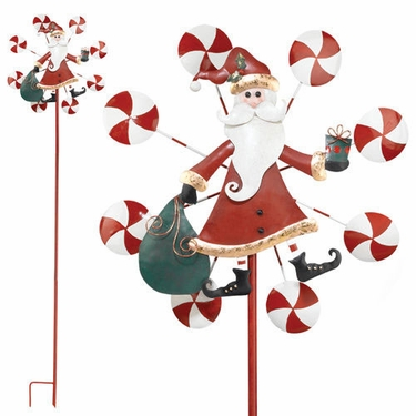 Large Santa Claus Garden Spinner Stake - Click to enlarge