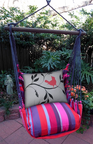 Lava Stripe Bird on Limb Hammock Chair Swing Set - Click to enlarge