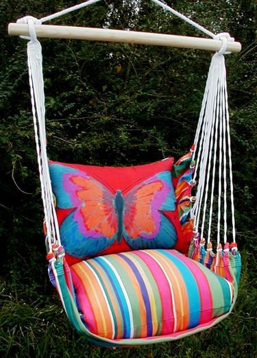 Le Jardin Red Butterfly Hammock Chair Swing Set - Click to enlarge