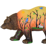 LED Bear Statue w/Forest Silhouette - Battery Powered