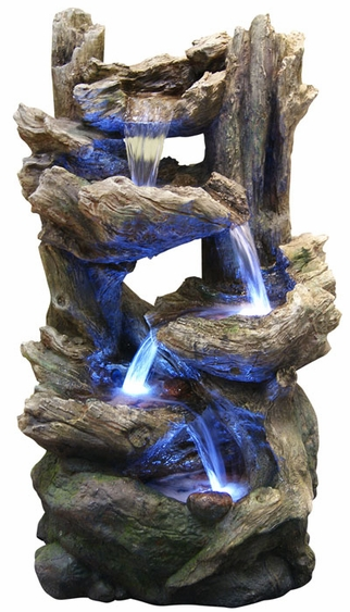 LED Rainforest Flowing Falls Outdoor Fountain - Click to enlarge