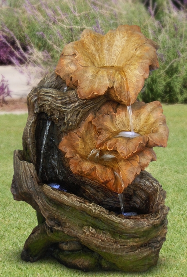 LED Rainforest Leaves Outdoor Fountain - Click to enlarge