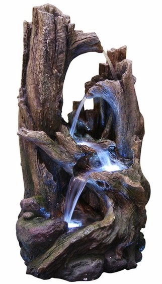 LED Rainforest Twisted Trunks Outdoor Fountain - Click to enlarge
