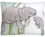 Manatees in Marsh Outdoor Pillow
