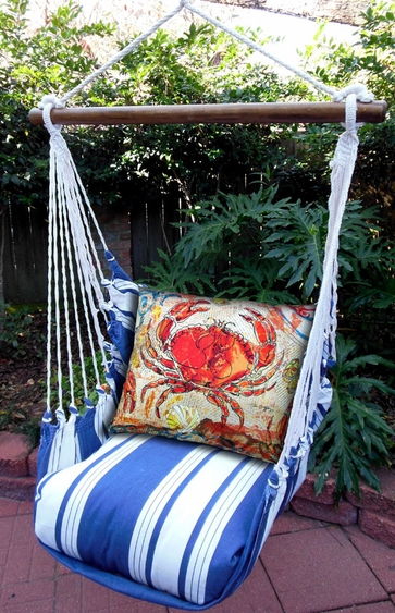 Marina Stripe Fresh Catch Crab Hammock Chair Swing Set - Click to enlarge