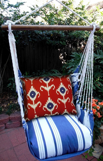 Marina Stripe Ikat Design Hammock Chair Swing Set - Click to enlarge