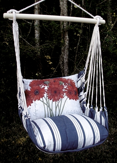 Marina Stripe Red Gerberas Hammock Chair Swing Set - Click to enlarge