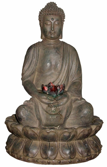 Meditating Buddha Water Feature w/LED Light - Click to enlarge
