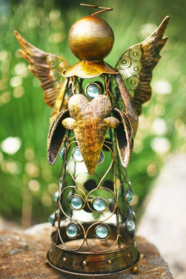 Medium Filigree Angel Statue - Gold - Click to enlarge