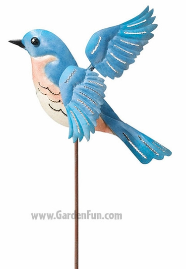 Metal Bluebird Jiggle Wings Stake - Click to enlarge