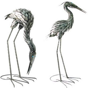 Large Metal Cranes Birds - Upright & Feeding - Click to enlarge