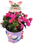 Metal Flower Pot w/Frisky Cat Head