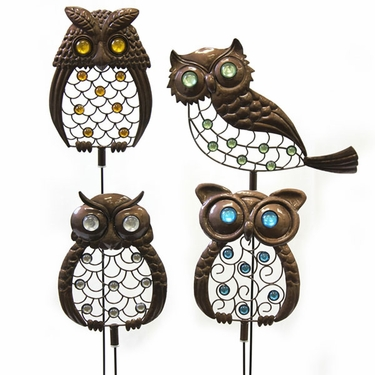 Metal Owl Garden Stakes (Set of 4) - Click to enlarge