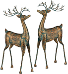 Metal Reindeer Decorations (Set of 2)
