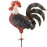 Metal Rooster Decor Garden Stake