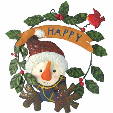 Metal Snowman Door Hanger Wreath - Click to enlarge