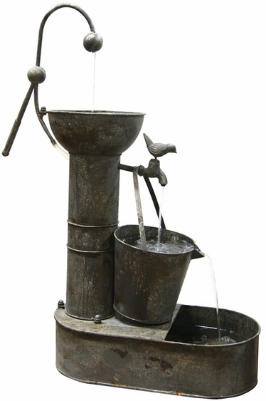 Metal Tin Can Outdoor Fountain - Click to enlarge