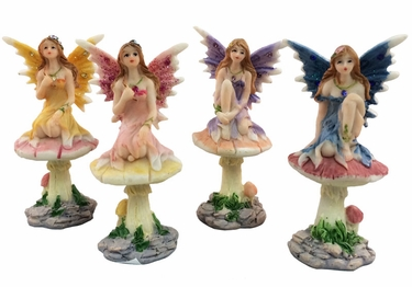Miniature Fairy w/Mushroom (Set of 4) - Click to enlarge