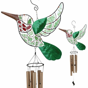 Mosaic Hummingbird Wind Chime - Click to enlarge