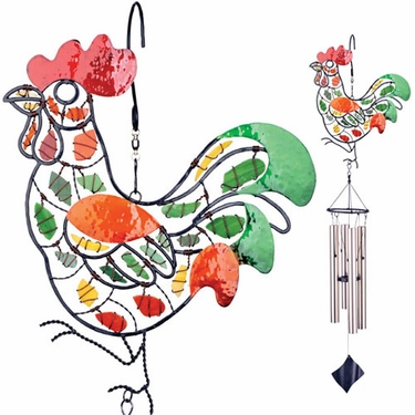 Mosaic Rooster Wind Chime - Click to enlarge