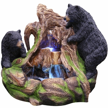 Northern Forest Bears Fountain w/LED Lights - Click to enlarge