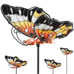 Orange Glass Butterfly Picks (Set of 6)