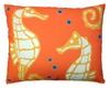 Orange Seahorses Outdoor Pillow