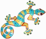 Orange Turquoise Gecko Wall Decor